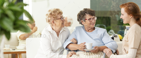 An old friend visiting an elderly woman in a wheelchair in a lux - Stock Photo - Images