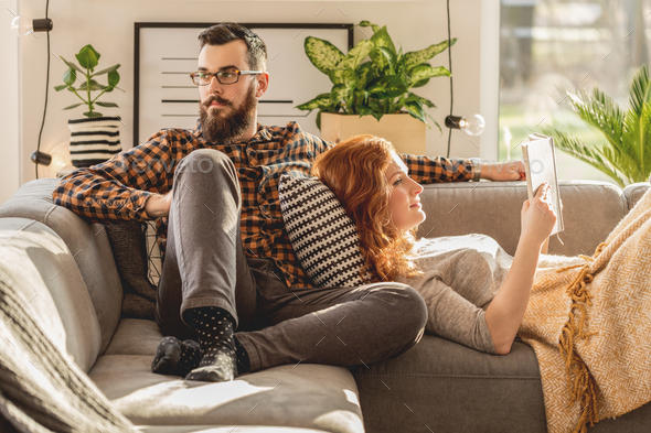 Young marriage spending free time - Stock Photo - Images