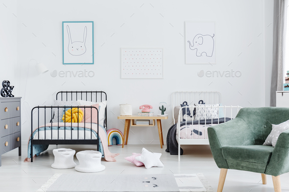 Bright scandinavian style bedroom interior with two metal frame - Stock Photo - Images