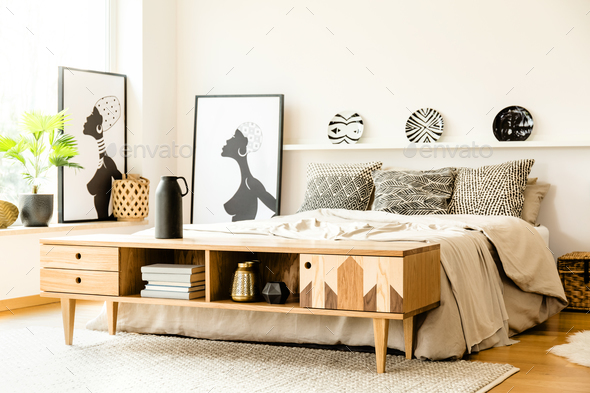 African posters in bedroom interior Stock Photo by bialasiewicz | PhotoDune