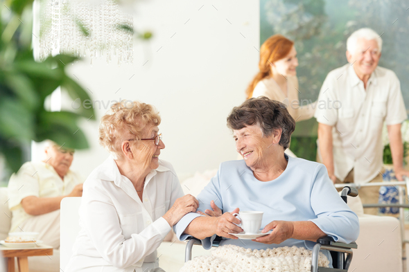 Front view of two happy geriatric women talking and holding hand - Stock Photo - Images