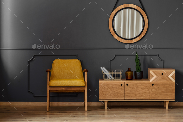 Simple black room interior - Stock Photo - Images
