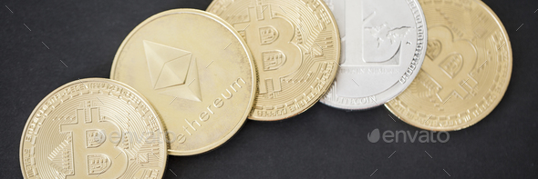 Panorama of golden and silver bitcoin, ethereum and litecoin cry - Stock Photo - Images