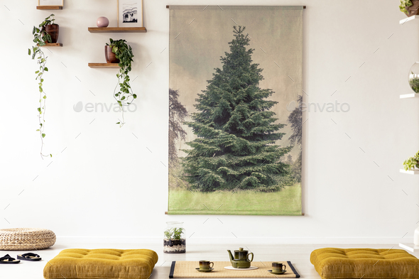 Real photo of a japanese style living room interior with tree gr - Stock Photo - Images
