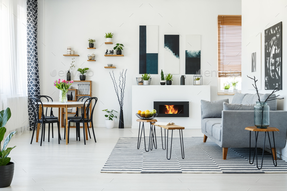 Amazing Black Chairs At Dining Table In Bright Living Room Interior With Machost Co Dining Chair Design Ideas Machostcouk