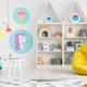 Yellow pouf in colorful child's room interior with lamps and pos - PhotoDune Item for Sale