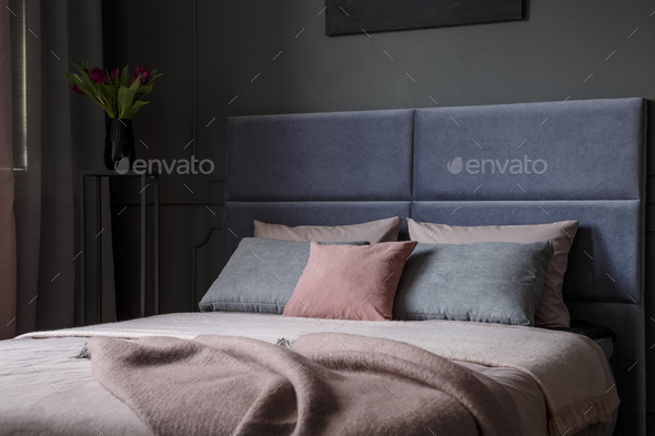 Pink and grey bedroom interior - Stock Photo - Images