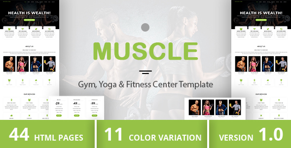MUSCLE - Gym, Yoga & Fitness Center Template - Health & Beauty Retail