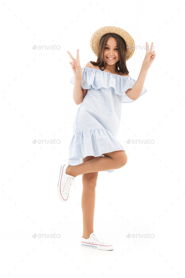 Cute funny girl posing isolated make peace gesture. - Stock Photo - Images