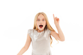 Shocked young blonde girl in dress having idea - PhotoDune Item for Sale