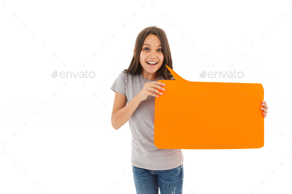 Happy girl holding copyspace empty blank. - Stock Photo - Images