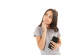 Cute girl standing isolated using mobile phone. - PhotoDune Item for Sale