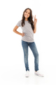 Pretty cute girl standing isolated make peace gesture. - PhotoDune Item for Sale