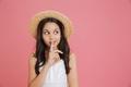 Portrait of brunette сute girl 8-10 wearing white dress and str - PhotoDune Item for Sale