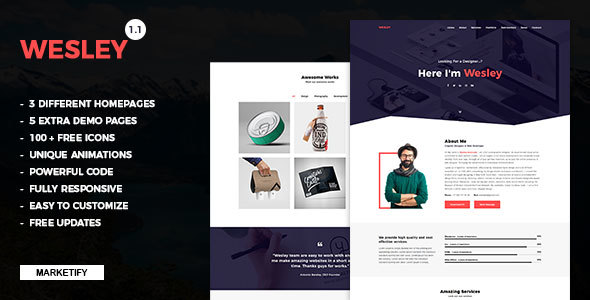 Wesley - Personal Portfolio Template - Personal Site Templates