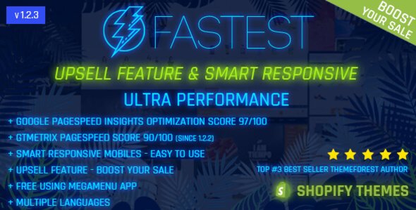 Fastest - Shopify minimal themes, Google Page Speed 97/100, Upsell feature - Boost your sale - Shopify eCommerce