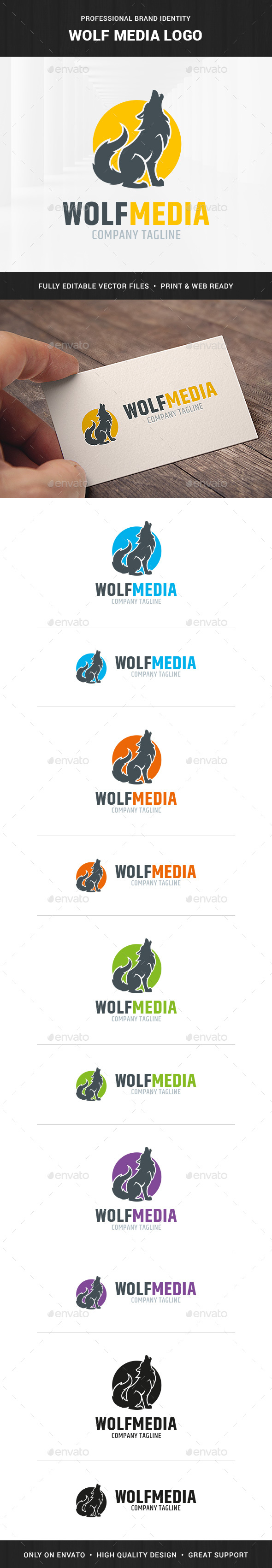 Wolf Media Logo Template - Animals Logo Templates