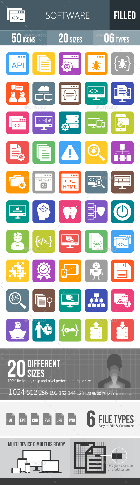 Software Development Flat Round Corner Icons - Icons