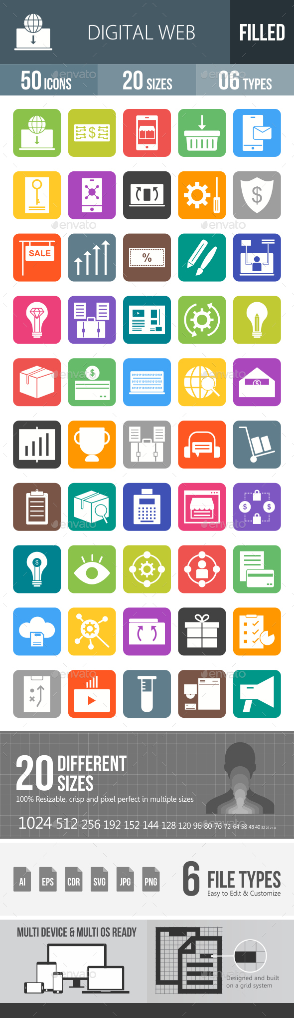 Digital Web Flat Round Corner Icons - Icons