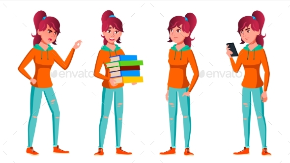 Teen Girl Poses Set Vector. Face. Children. - People Characters