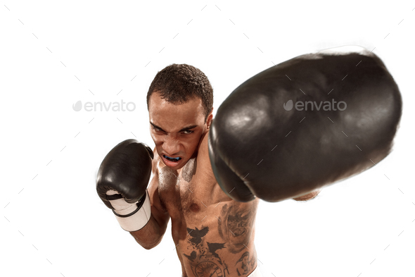 Sporty man during boxing exercise. Photo of boxer on white background - Stock Photo - Images