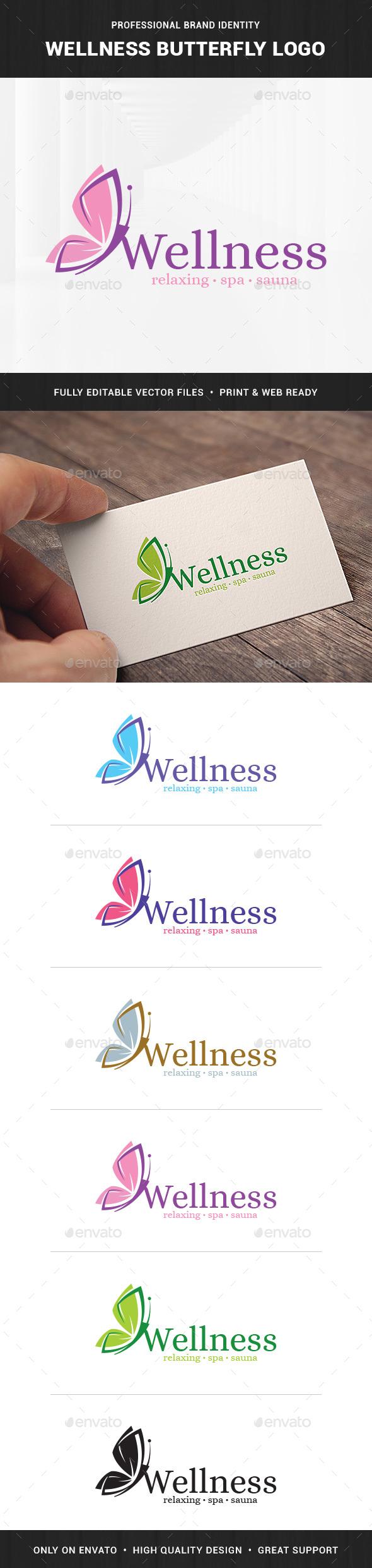 Wellness - Butterfly Logo Template - Animals Logo Templates