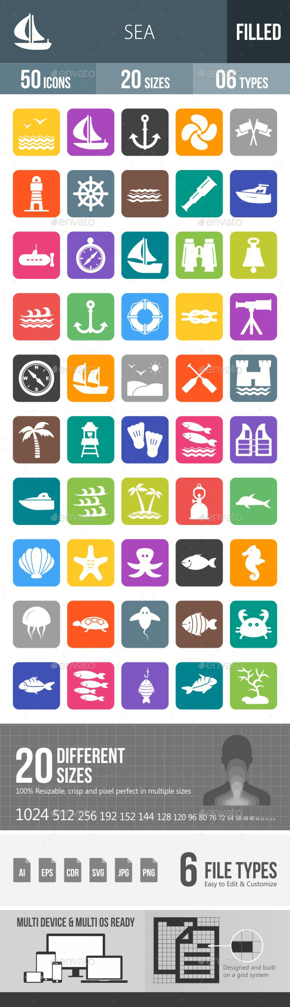 Sea Flat Round Corner Icons - Icons
