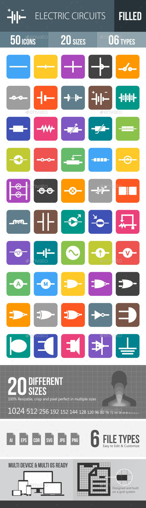 Electric Circuits Flat Round Corner Icons - Icons