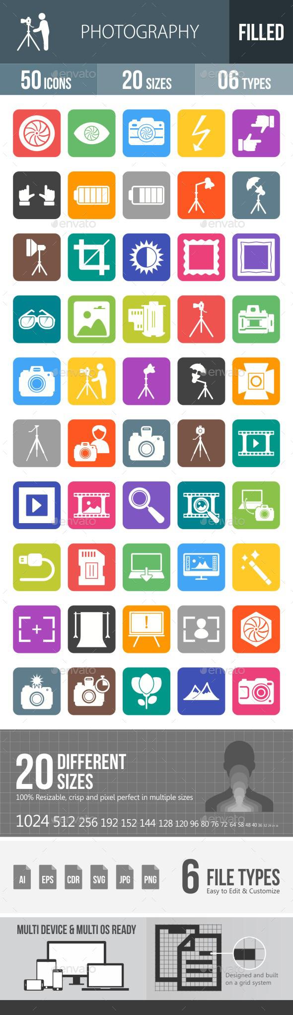 Photography Flat Round Corner Icons - Icons