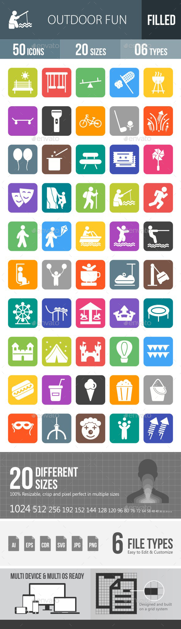 Outdoor Fun Flat Round Corner Icons - Icons