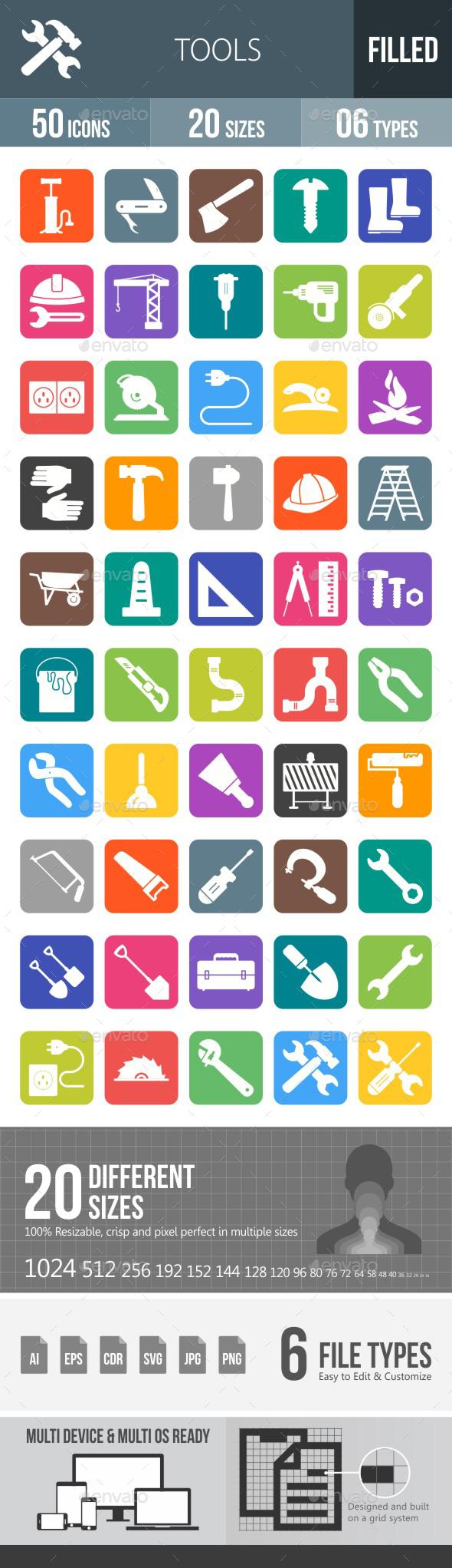 Tools Flat Round Corner Icons - Icons