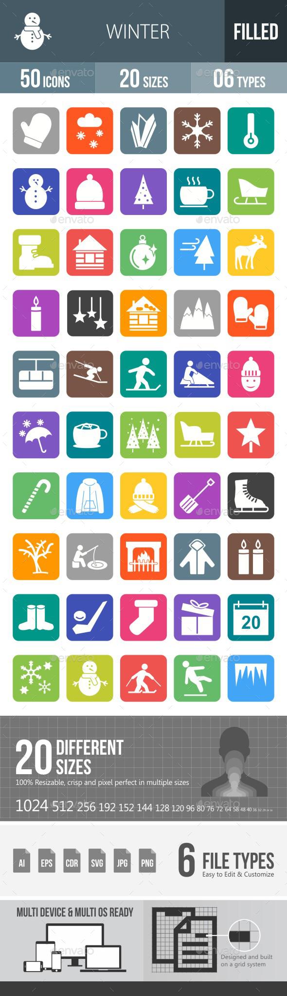 Winter Flat Round Corner Icons - Icons