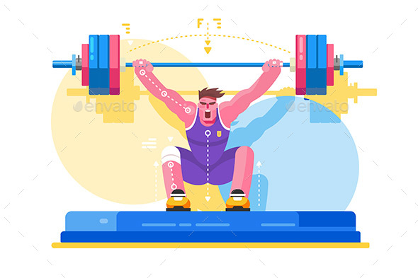 Weight Lifting Athlete Competitions - People Characters