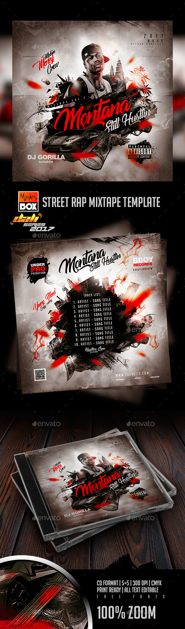 Street Rap Mixtape Template - CD & DVD Artwork Print Templates