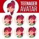 Teen Girl Avatar Set Vector. Face Emotions. User