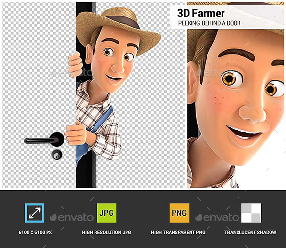 3D Farmer Peeking Behind a Door - Characters 3D Renders