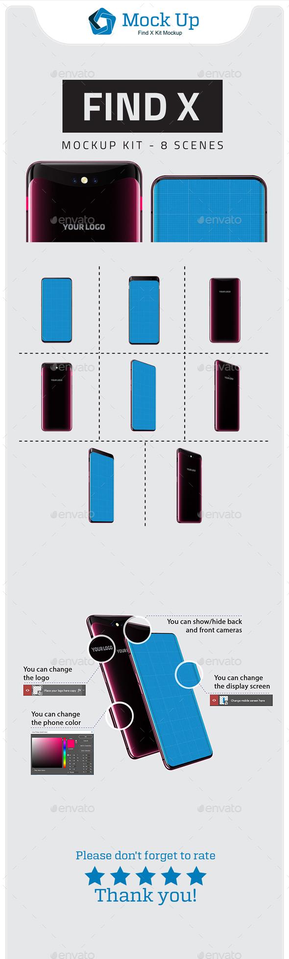 Find X Kit Mockup - Mobile Displays