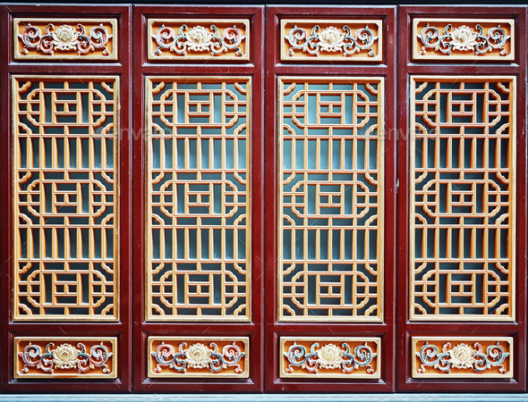 Chinese wooden red and golden door. - Stock Photo - Images