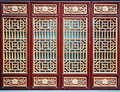 Chinese wooden red and golden door.