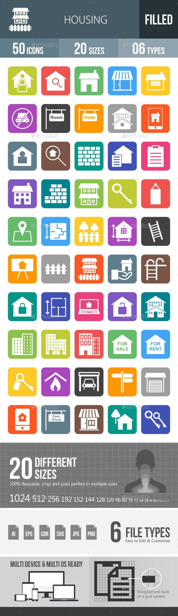 Housing Flat Round Corner Icons - Icons