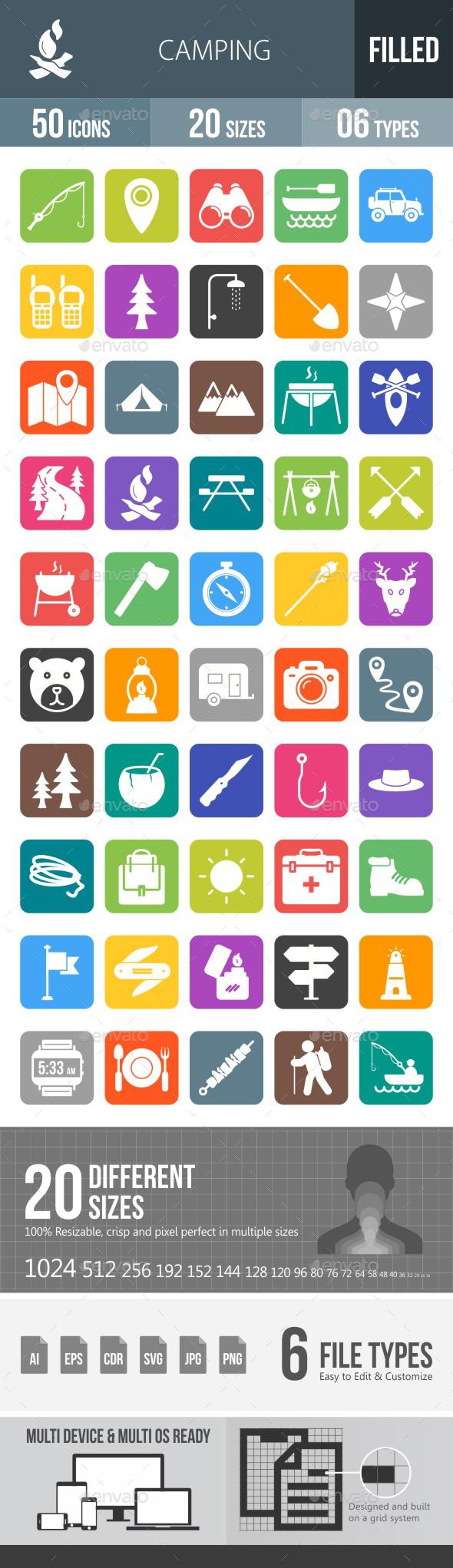 Camping Flat Round Corner Icons - Icons