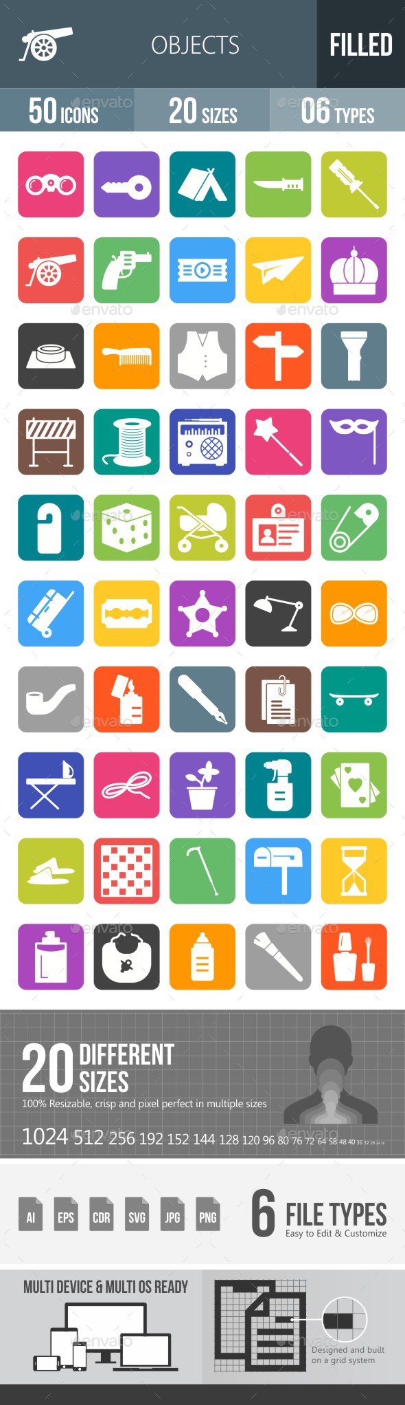 Objects Flat Round Corner Icons - Icons
