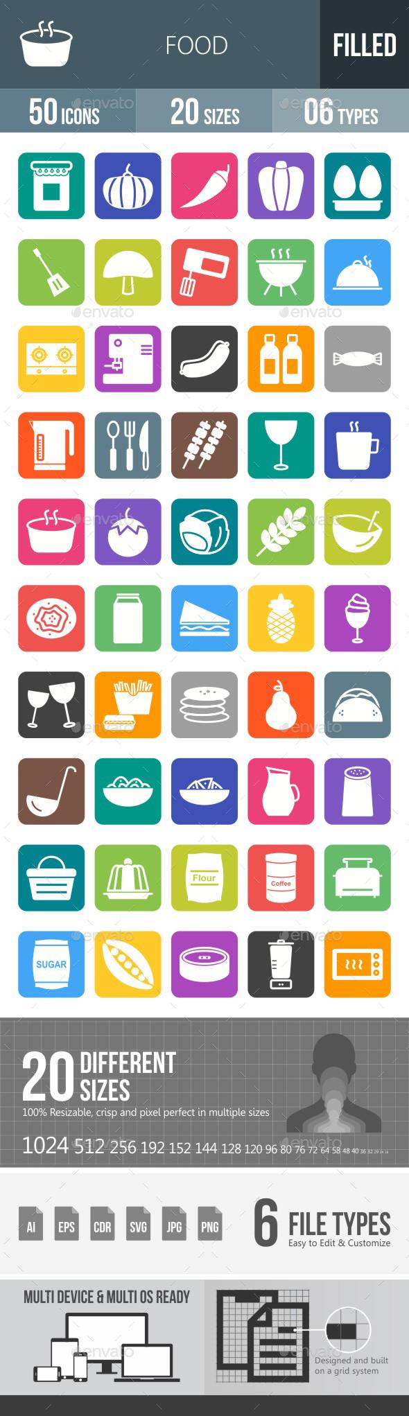 Food Flat Round Corner Icons - Icons