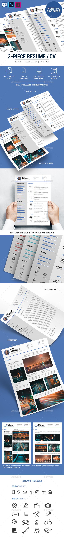 Clean Modern 3-Piece CV Resume - Resumes Stationery