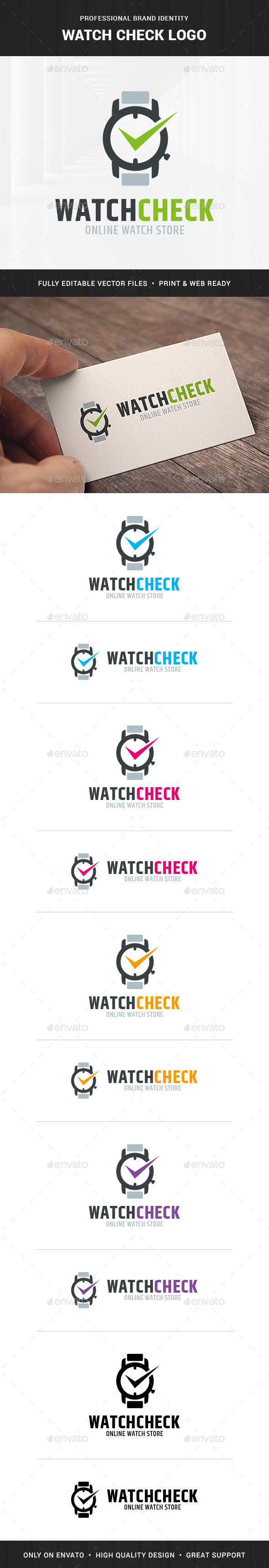 Watch Check Logo Template - Objects Logo Templates