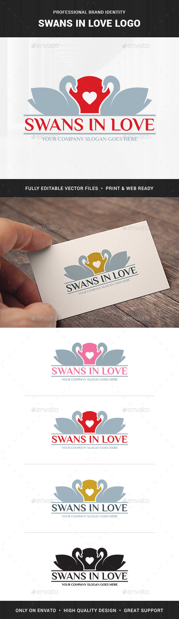 Swans In Love Logo Template - Animals Logo Templates