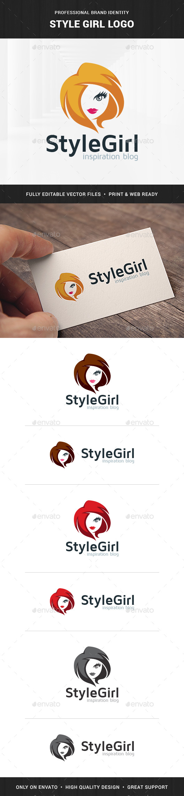 Style Girl Logo Template - Humans Logo Templates