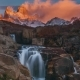 Beautiful View with Waterfall and Fitz Roy Mountain. Patagonia - VideoHive Item for Sale