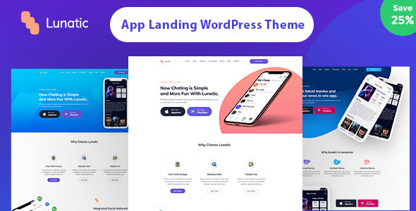 lunatic - creative app showcase wordpress theme (technology) Lunatic – Creative App Showcase WordPress Theme (Technology) preview