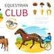 Cartoon Equestrian Sport Elements Set